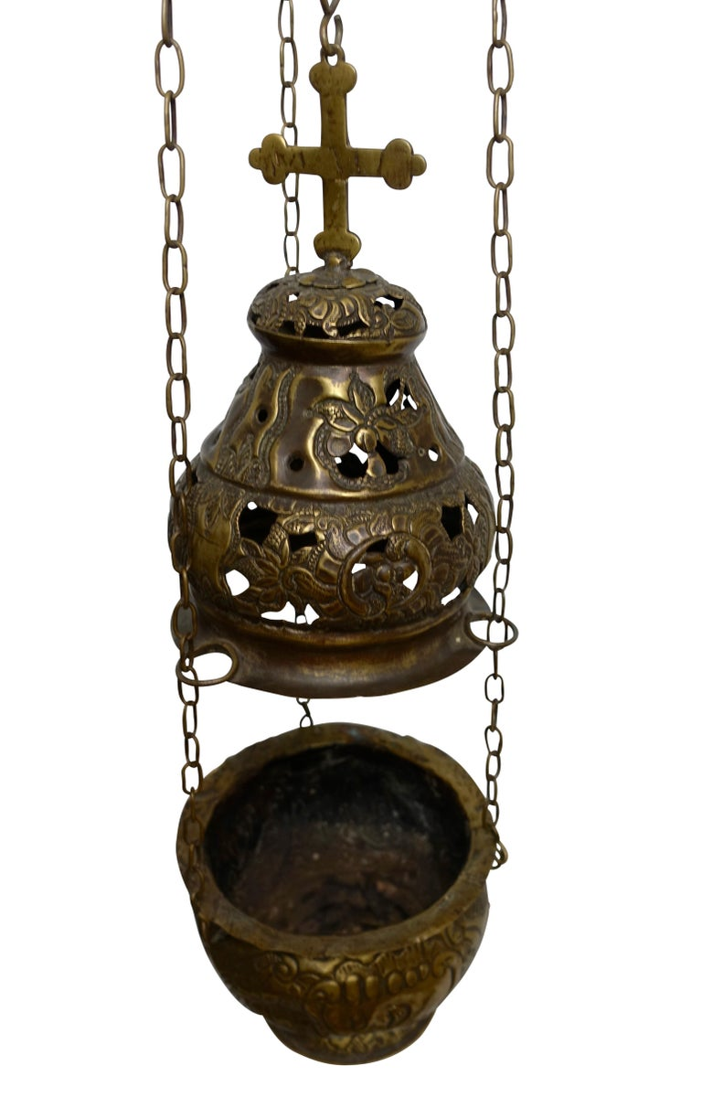 Religious Repousse Brass Hanging Incense Burner, Spanish Colonial, 19th Century In Good Condition For Sale In San Francisco, CA
