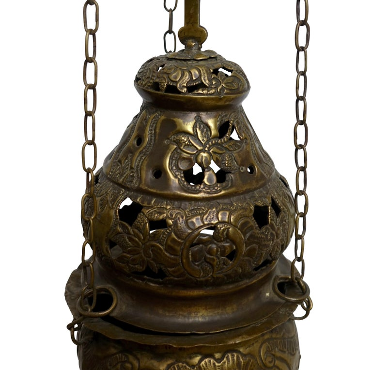 Religious Repousse Brass Hanging Incense Burner, Spanish Colonial, 19th Century For Sale 1