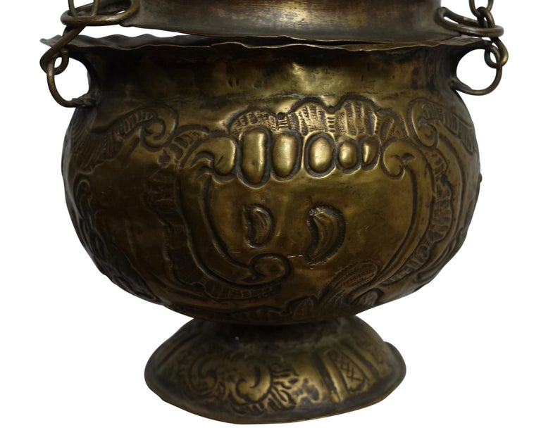 Religious Repousse Brass Hanging Incense Burner, Spanish Colonial, 19th Century For Sale 2