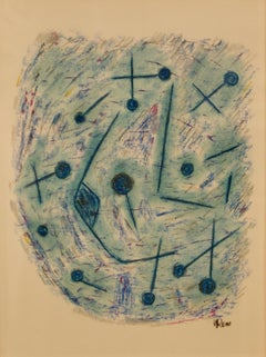 Mid Century Abstract Mixed Media Drawing by Rem Raymond Coninckx - Belgium