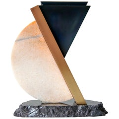 Remains Urn in Contemporary Blackened Steel with Marble, Satin Brass, Granite