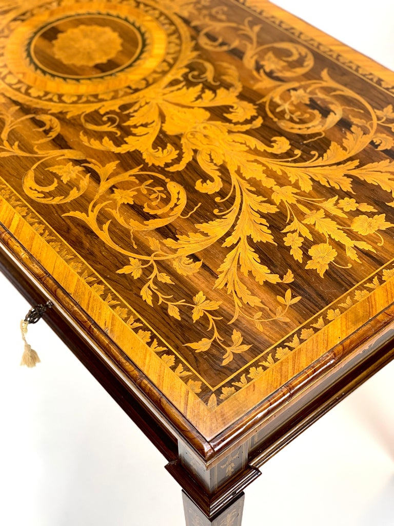 Neoclassical Ornate 19th Century Inlaid Writing Desk