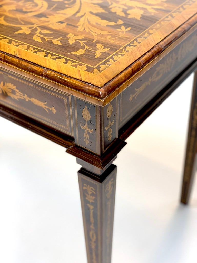 Italian Ornate 19th Century Inlaid Writing Desk