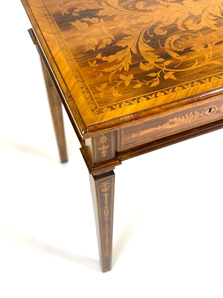 Inlay Ornate 19th Century Inlaid Writing Desk