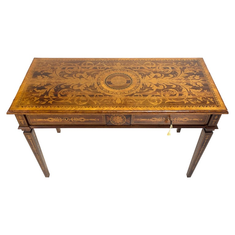 Ornate 19th Century Inlaid Writing Desk