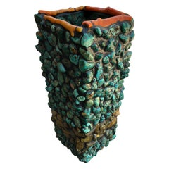 Remarkable Artisan Made Turquoise Amber and Coral Vase