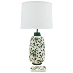 Remarkable Ceramic Lamp and Decorative Box with Bird Motif