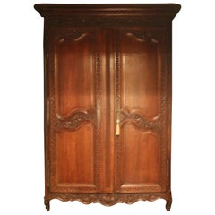 Remarkable French Walnut 19th Century Armoire, That Is a Clothes Closet