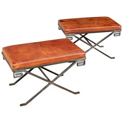 Remarkable Pair of Midcentury Steel and Leather X-Benches
