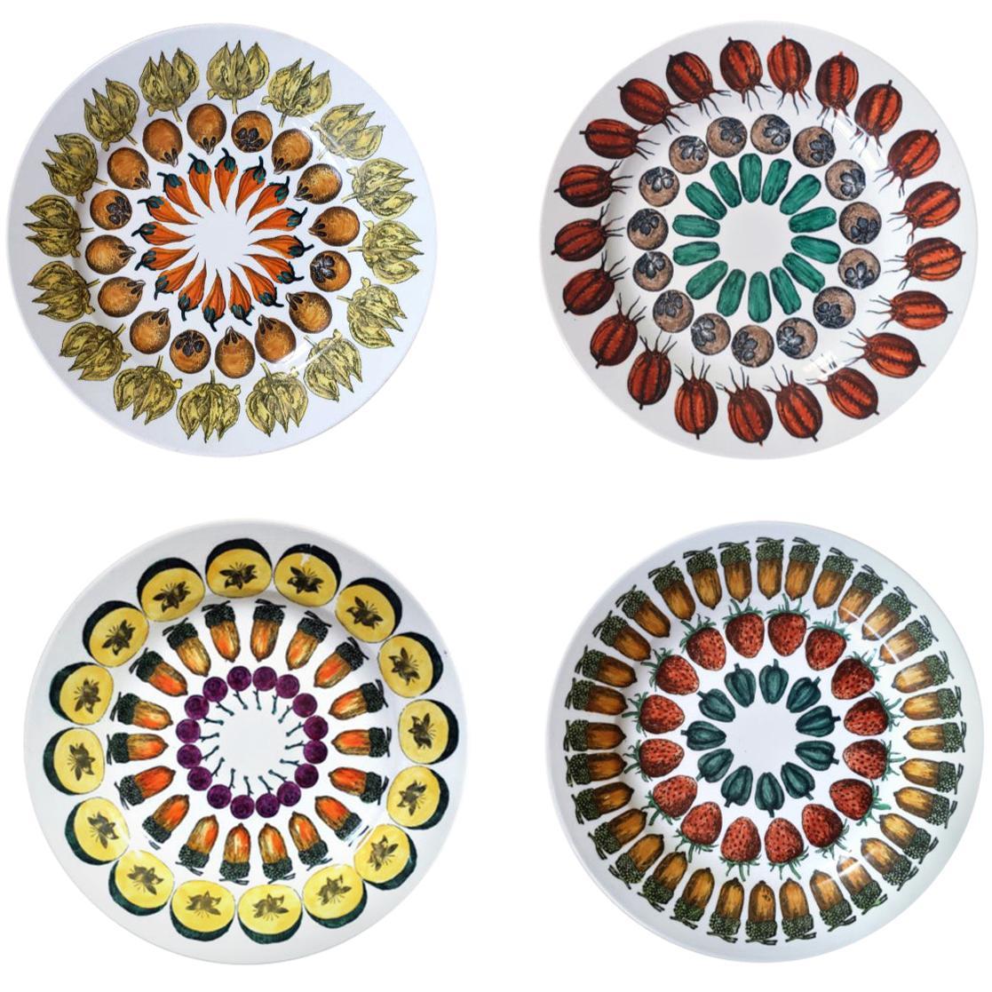 Remarkable Rare Set of Four Piero Fornasetti Giostra di Frutta Pattern Plates