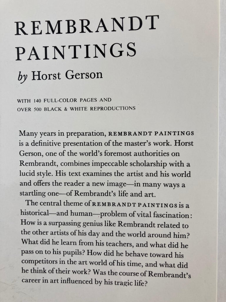 Rembrandt Paintings Hardcover Book by Gerson Horst In Good Condition For Sale In North Hollywood, CA