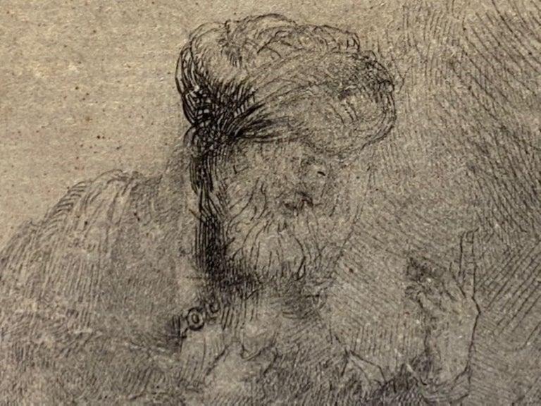 Abraham & Isaac - Beige Figurative Print by Rembrandt van Rijn