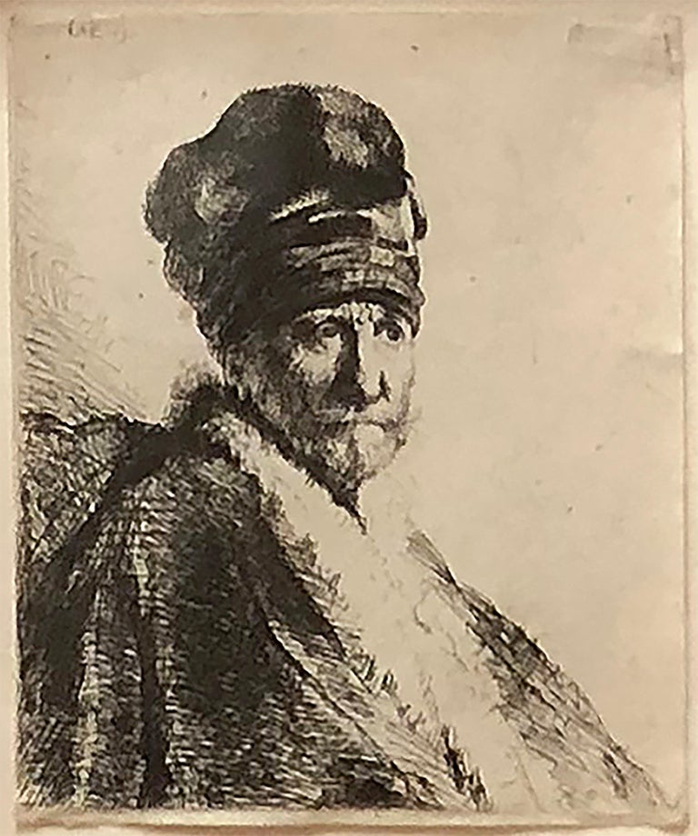 Rembrandt van Rijn Figurative Print - Bust of a Man Wearing a High Cap, Three Quarters Right (The Artist's Father?)
