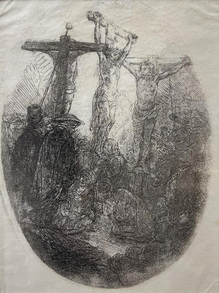 'Christ Crucified Between Two Thieves: an oval plate' Rembrandt original etching - Print by Rembrandt van Rijn