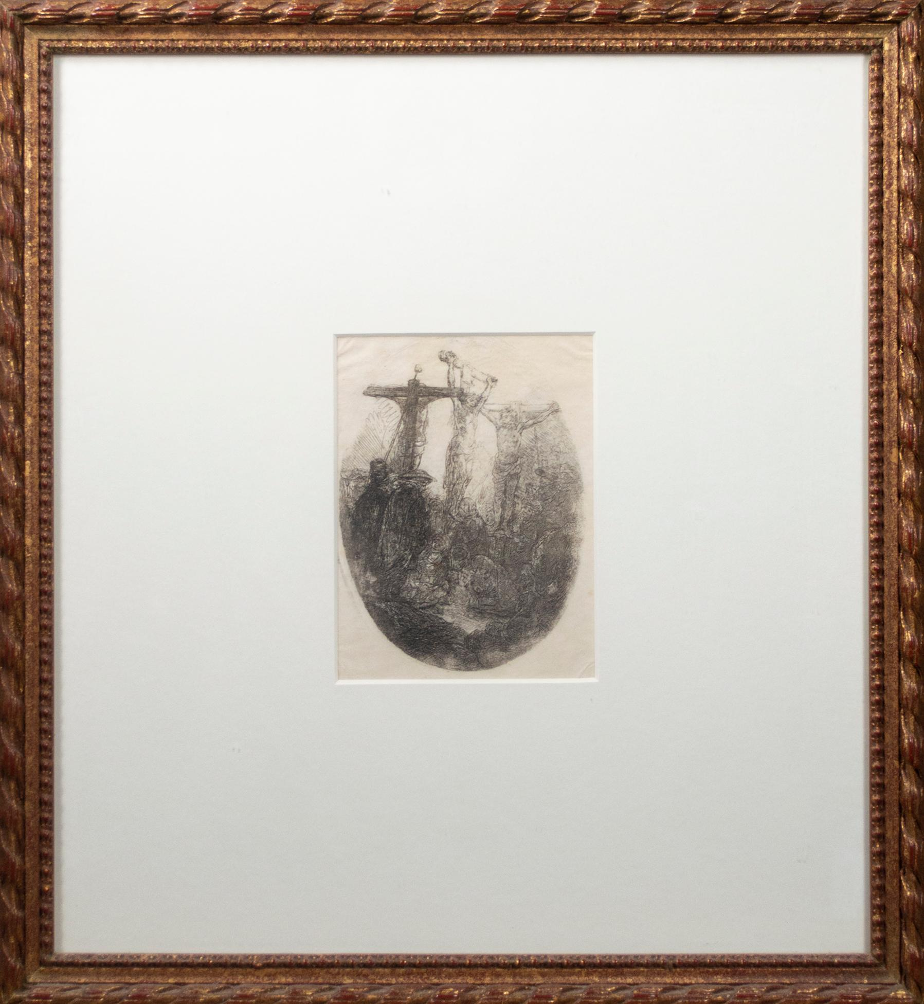 'Christ Crucified Between Two Thieves: an oval plate' Rembrandt original etching