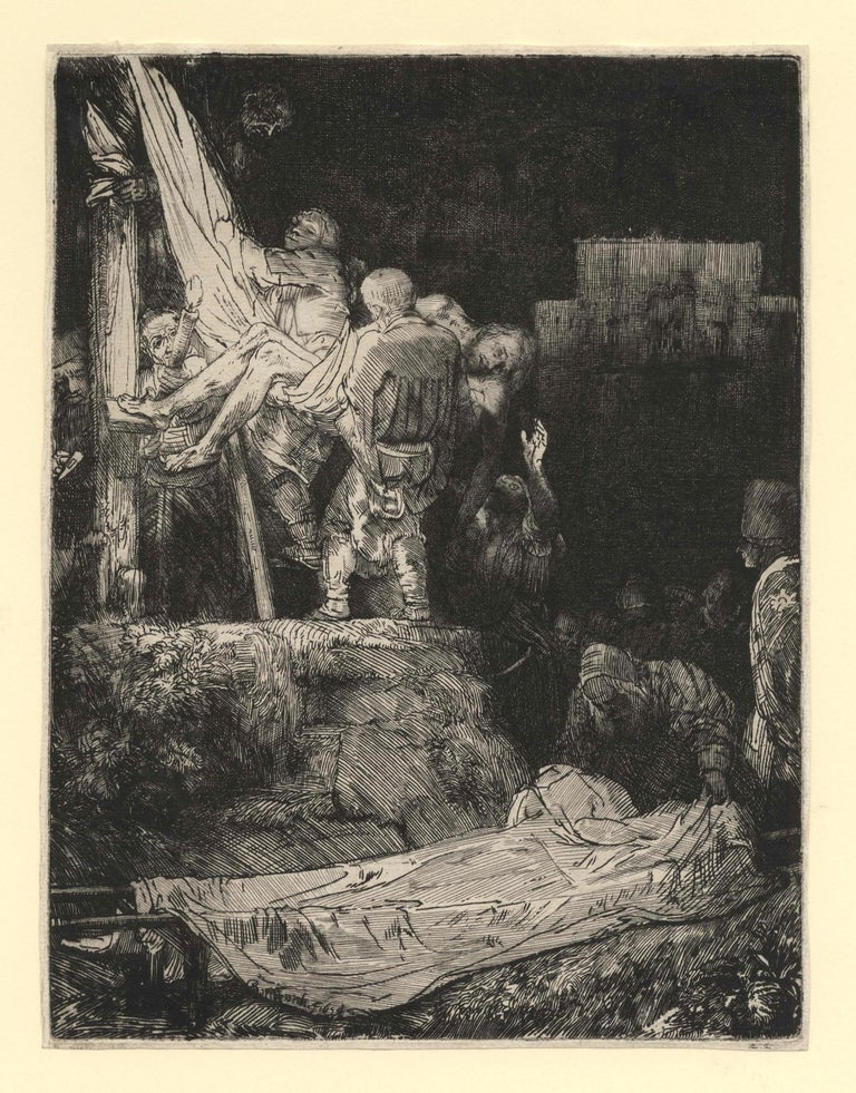 Rembrandt van Rijn Figurative Print - Descending from the Cross, by Torchlight