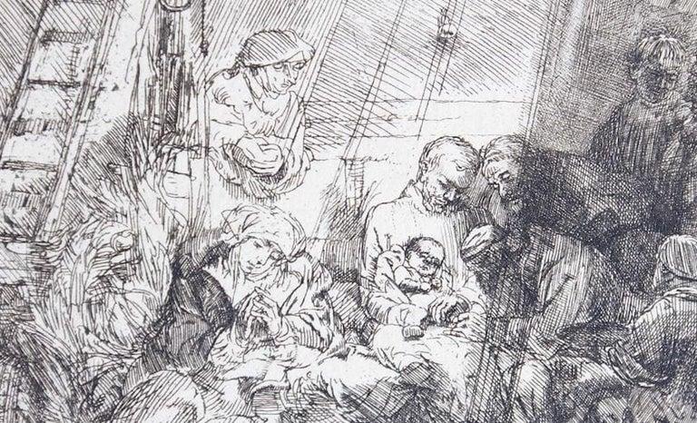 La circoncision dans l'étable - Original Etching by Rembrandt - 1654 - Print by Rembrandt van Rijn