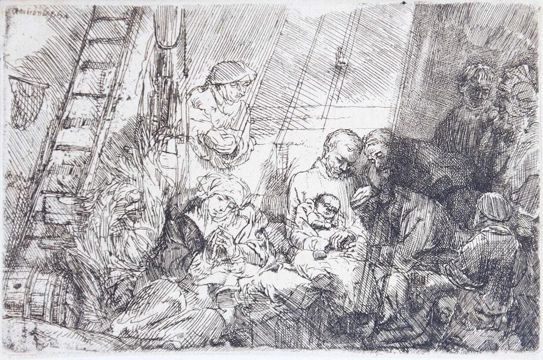 La circoncision dans l'étable - Original Etching by Rembrandt - 1654
