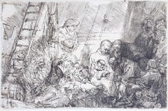 La circoncision dans l'étable - Original Etching by Rembrandt - 1654