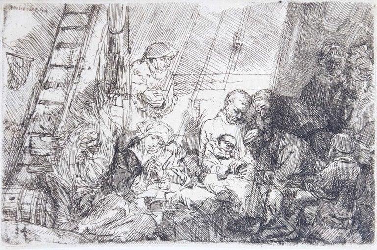Rembrandt van Rijn Figurative Print - La circoncision dans l'étable - Original Etching by Rembrandt - 1654