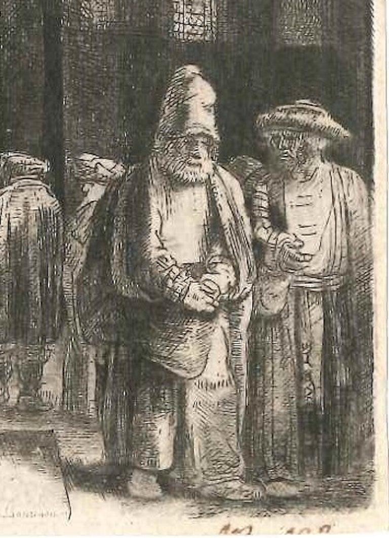La Synagogue des Juifs - Original Etching by Rembrandt - 1648 - Old Masters Print by Rembrandt van Rijn