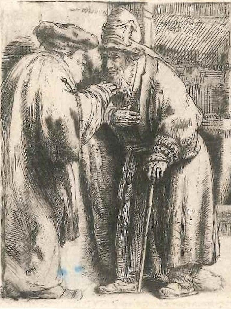 La Synagogue des Juifs - Original Etching by Rembrandt - 1648 - Gray Portrait Print by Rembrandt van Rijn