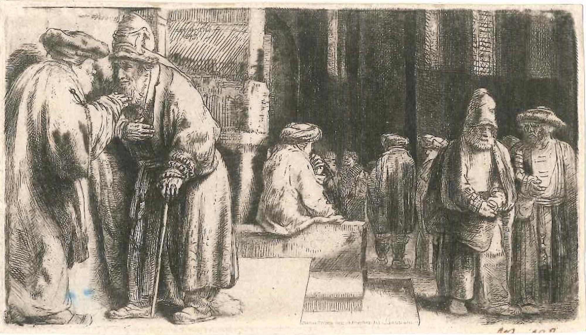 La Synagogue des Juifs - Original Etching by Rembrandt - 1648