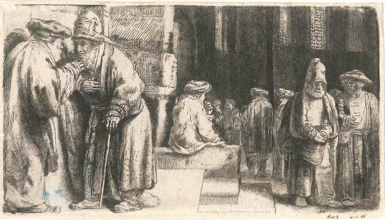Rembrandt van Rijn Portrait Print - La Synagogue des Juifs - Original Etching by Rembrandt - 1648