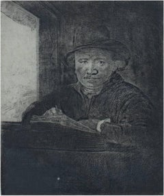 """Self Portrait Drawing at a Window,"" original etching by Rembrandt van Rijn"