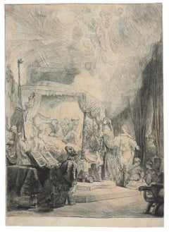 The Death of the Virgin - Original Etching by Rembrandt - 1639