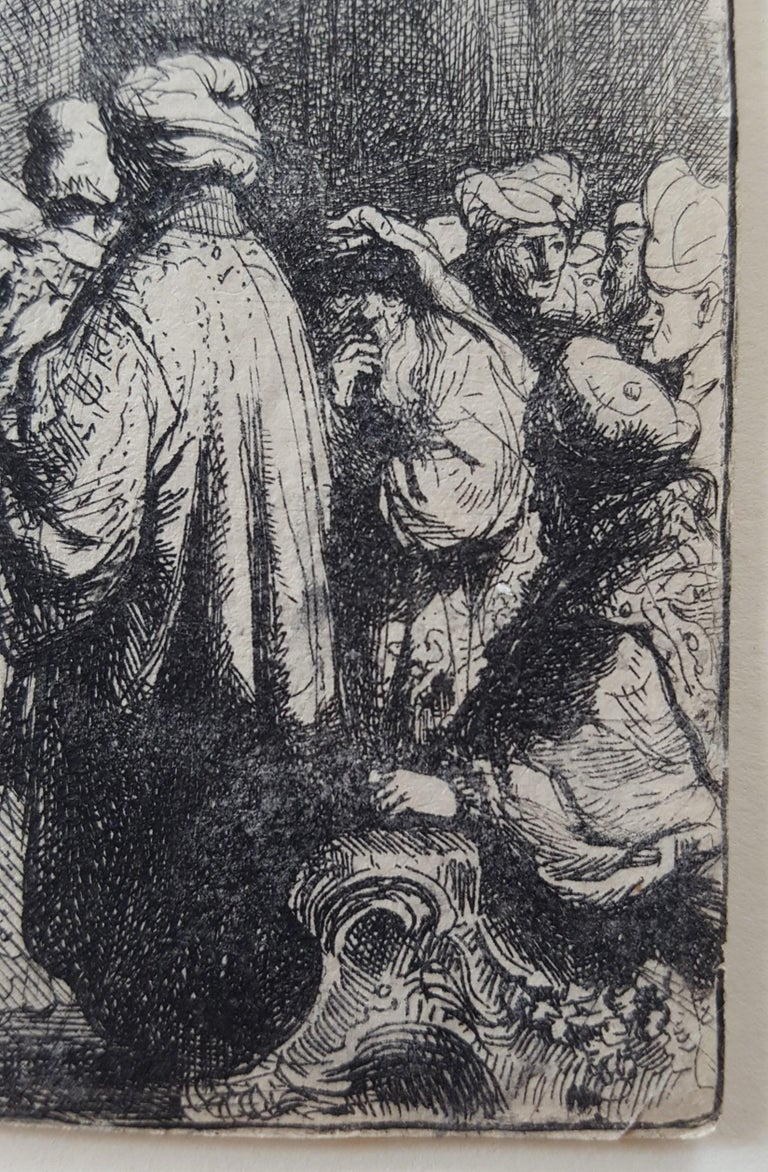 "An original etching on laid paper by Dutch artist Rembrandt Harmenszoom van Rijn (1606-1669) titled ""The Tribute Money"", c. 1635. A later impression of New Hollstein's second state (of four). Scene: Matthew 22:15-22. Printed and published in"