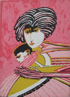 Motherhood - Original Screen Print by Remo Brindisi - 1980s