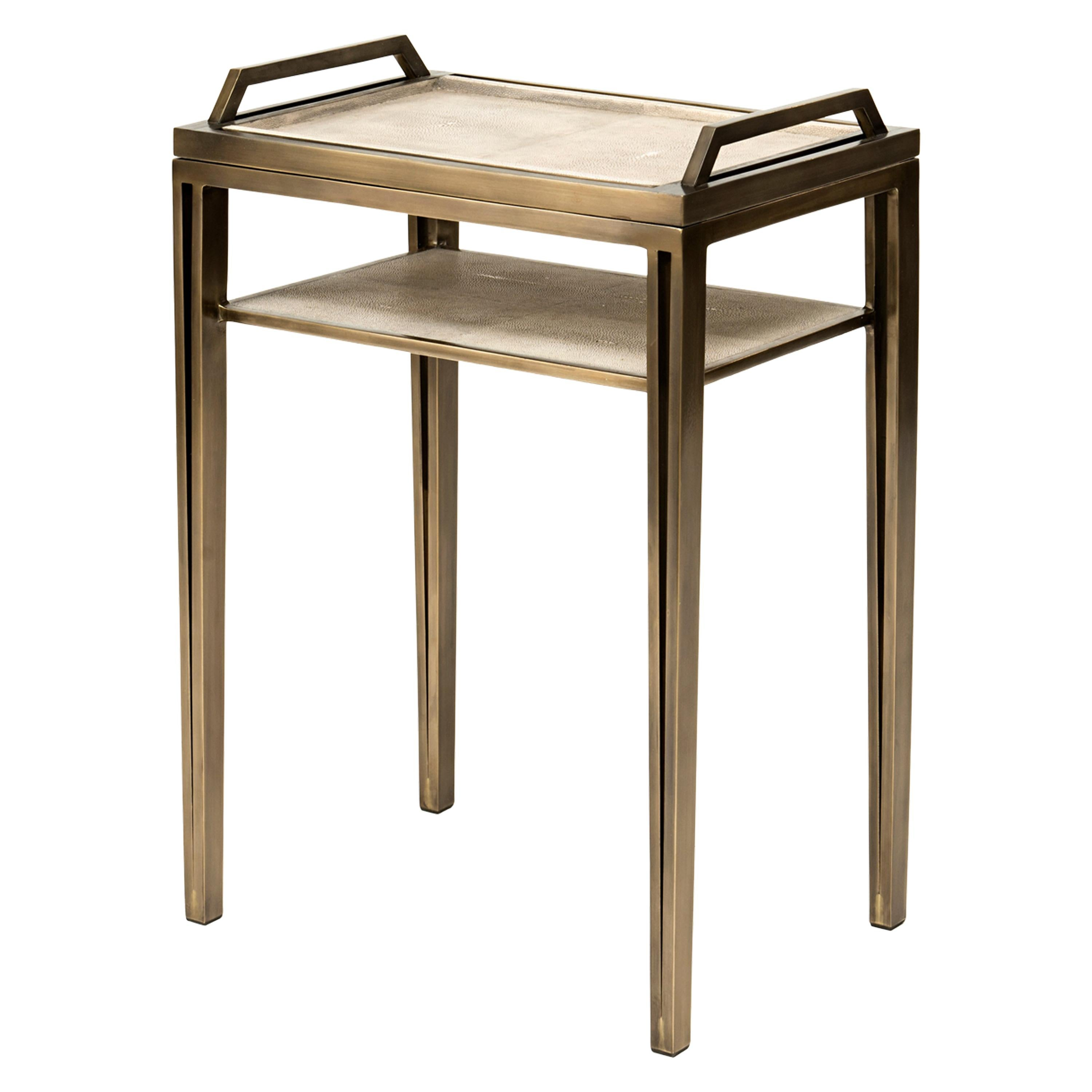 Removable Tray Side Table in Cream Shagreen, Bronze-Patina Brass by R&Y Augousti