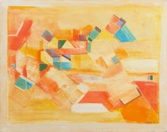 'Village in Provence', Large French Geometric Abstract Oil, Palo Alto Gallery