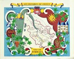 Original Vintage Poster Vignobles De France Vineyards Vins De Bordeaux Wine Map