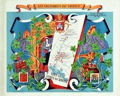 Original Vintage Poster Vignobles De France Vins Des Cotes Du Rhone Wine Map Art