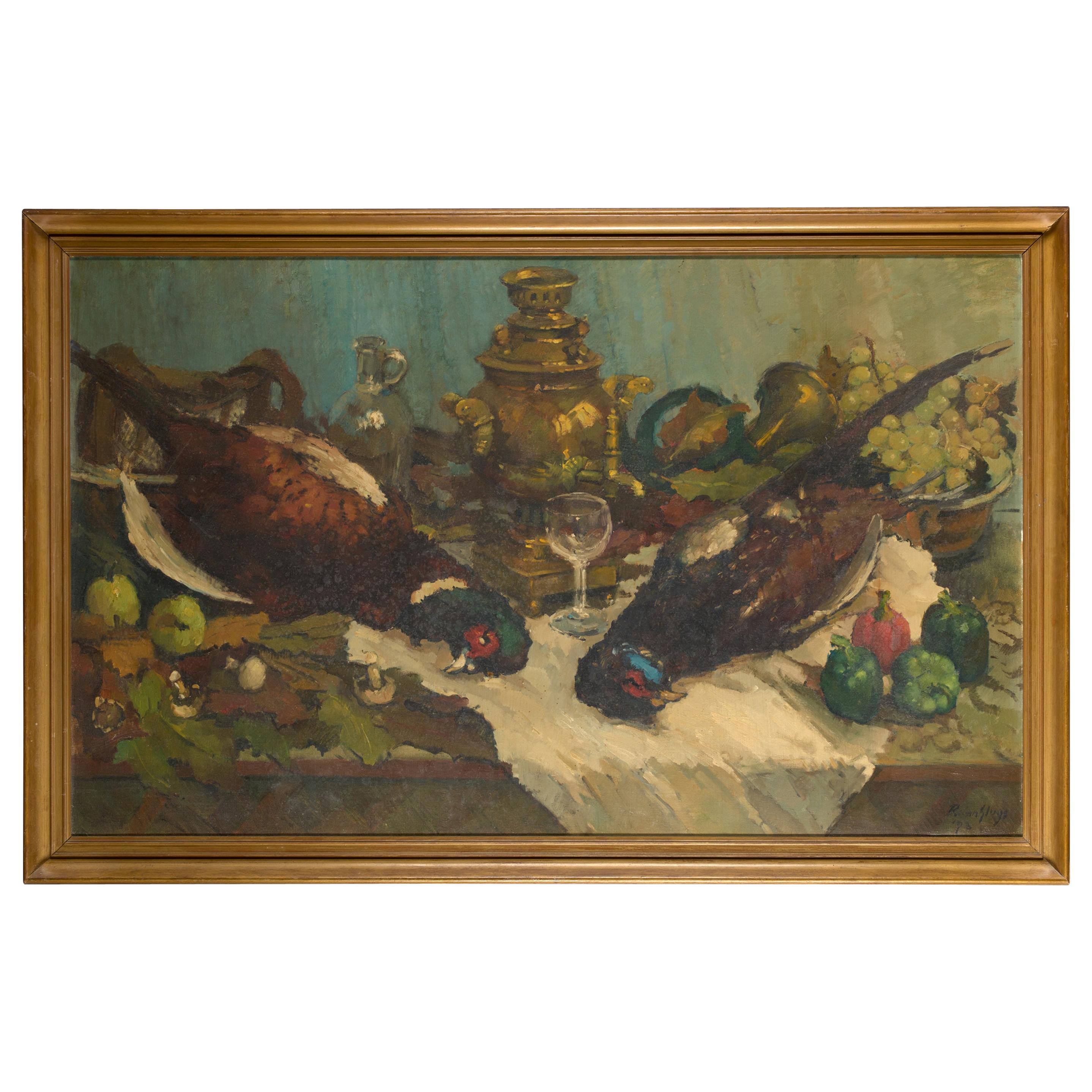 Remy Van Sluys, Still Life After the Hunt, Oil on Canvas, Framed