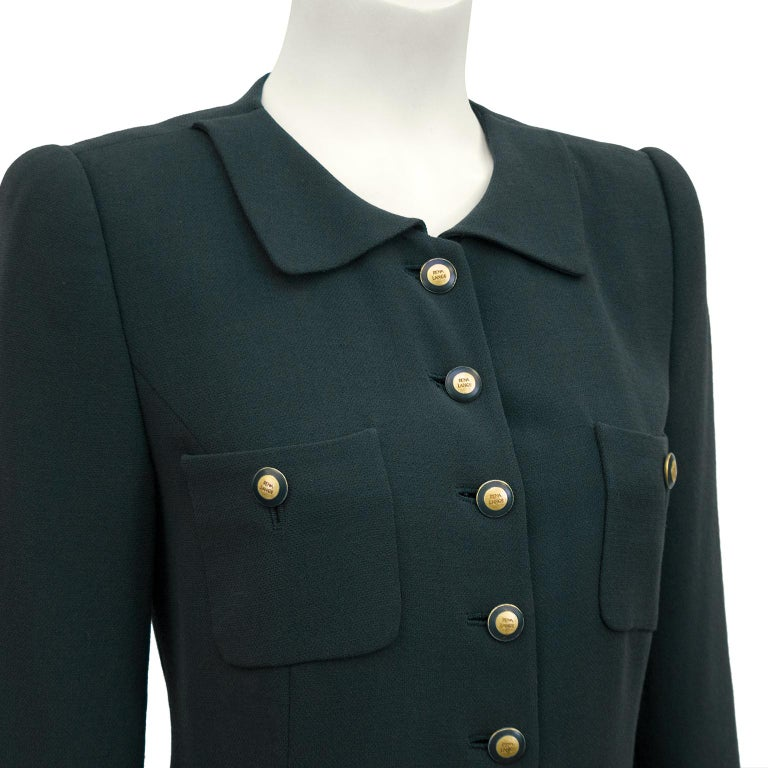 Rena Lange 1990's Forest Green Dress In Excellent Condition For Sale In Toronto, Ontario