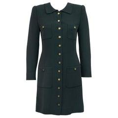 Rena Lange 1990's Forest Green Dress