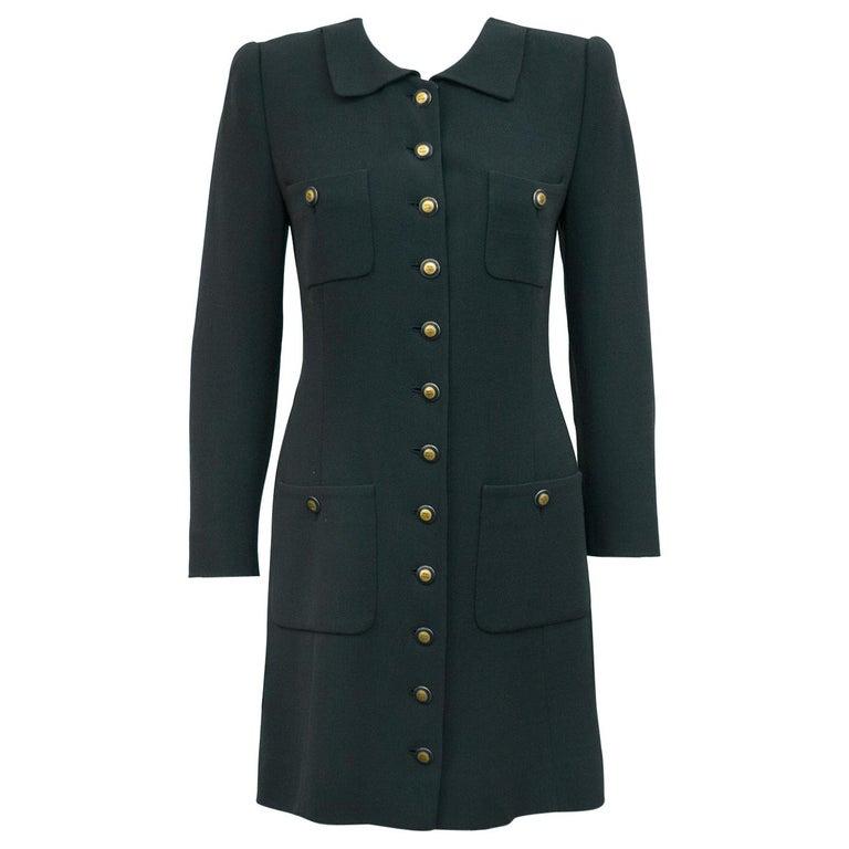 Rena Lange 1990's Forest Green Dress For Sale