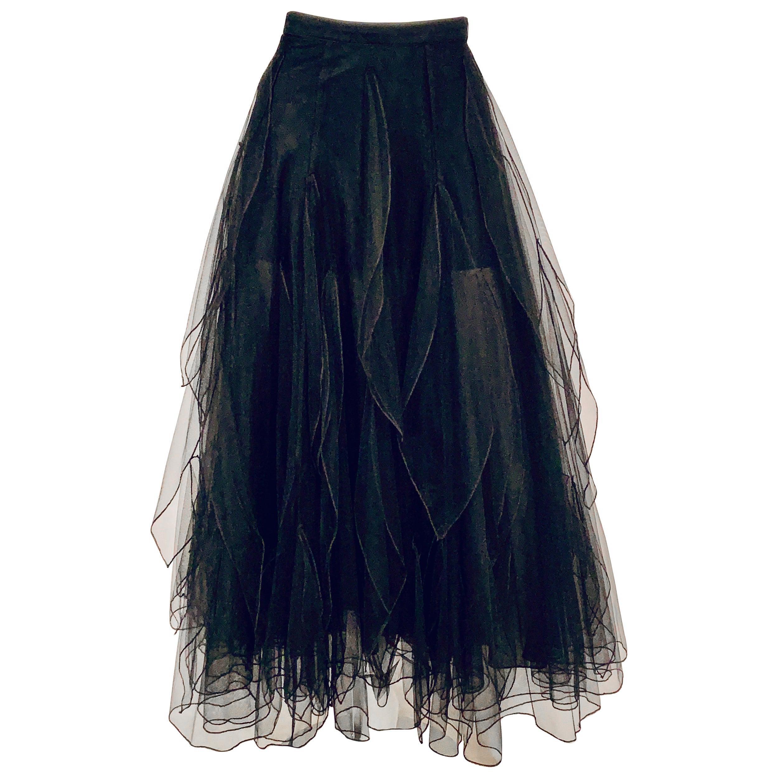 Rena Lange Appliqued Black Tulle Ballerina Skirt Very Short Black Silk Lining