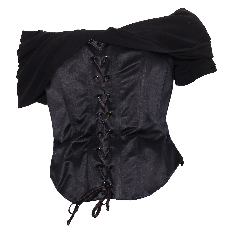 Rena Lange Black silk Corset with lace-up front off the shoulder neckline