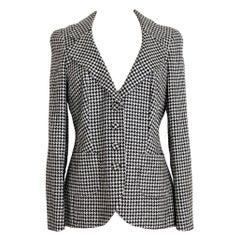 Rena Lange Black White Silk Houndstooth Flared Cocktail Jacket