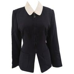 Rena Lange blue white collar wool jacket