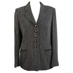 Rena Lange Vintage Wool Blend Fishbone Blazer Jacket Size 40 D