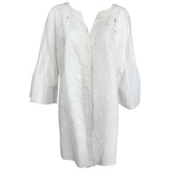 Rena Lange White Embroidered Cotton Cut Work Button Tunic  12