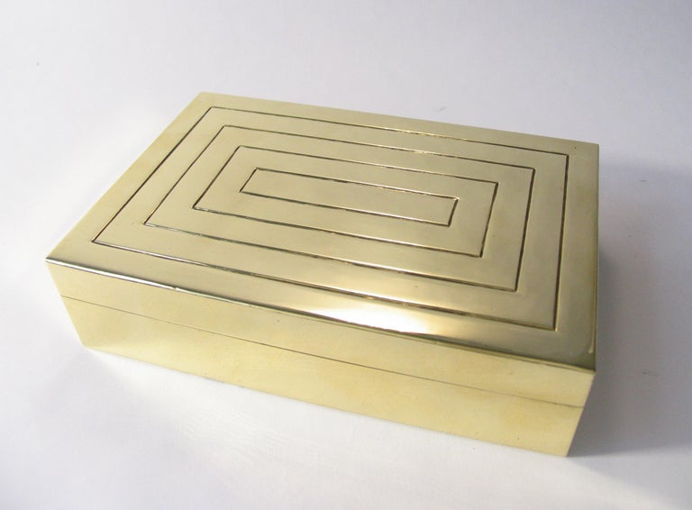 Austrian Rena Rosenthal Art Deco Engraved Brass Jewelry Cigarette Box For Sale