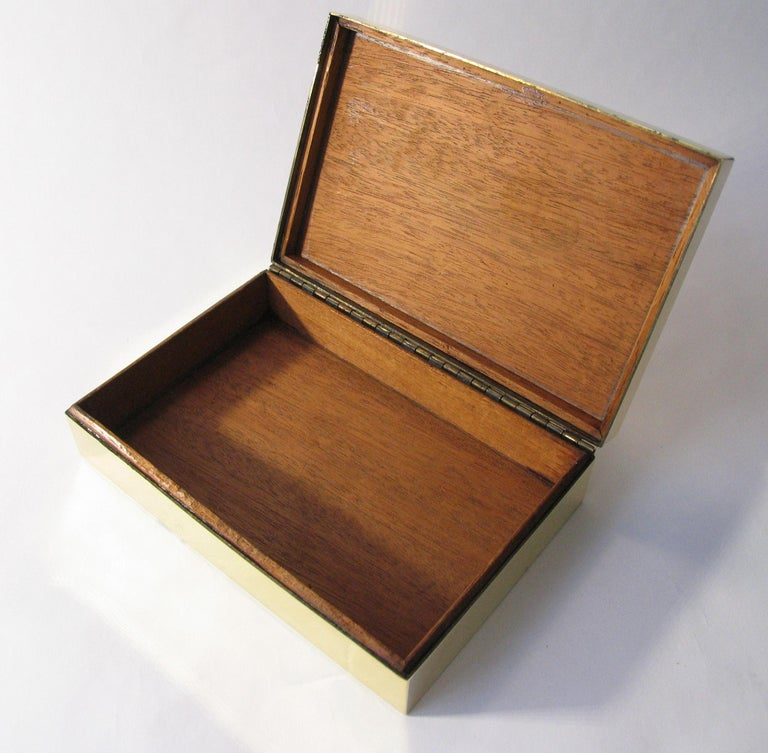 20th Century Rena Rosenthal Art Deco Engraved Brass Jewelry Cigarette Box For Sale