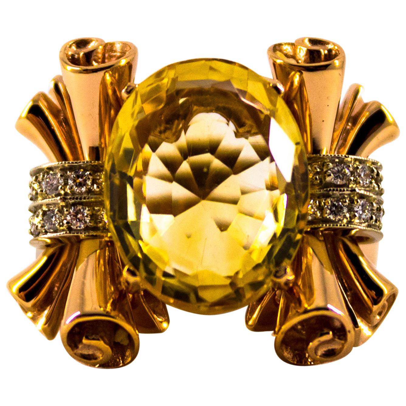 Renaissance 0.30 Carat Diamond 12.00 Carat Citrine Yellow Gold Cocktail Ring