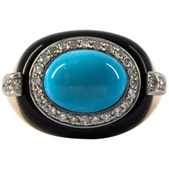 Renaissance 0.40 Carat White Diamond Turquoise Onyx Yellow Gold Cocktail Ring